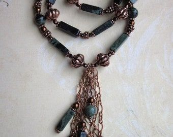 Evergreens - Kambaba Jasper and Copper Necklace