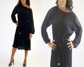 Hal Ferman Gossamer 1970s Black Pleated Vintage Dress with Jewel Tip Belt Modern Size 6/8