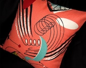 "Retro Pillow Cover -- SPACE AGE on Salmon Vintage Reproduction Barkcloth -- for 18"" x 18"" insert"