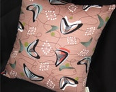 Retro Throw Pillow Cover -- Atomic Boomerang Beat -- Cocoa Brown - Reproduction Barkcloth -- Many Sizes Available