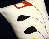 """LAST ONE - Palm Springs Retro - Throw Pillow Cover -  Mid Century Mobiles - for 16"""" X 16"""" insert - Premium Reproduction Barkcloth"""