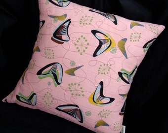 "Retro Throw Pillow Cover -- New, Pink Boomerang Beat Barkcloth - For a 10"" x 20"" pillow insert"