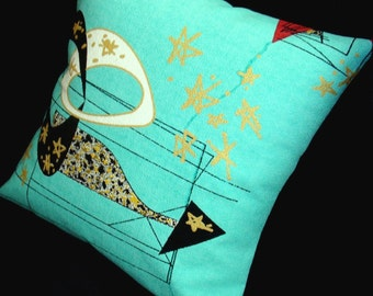 "Mid Century Modern Pillow Cover - Aqua Atomic - Premium Reproduction Barkcloth - for use with 18"" x 18"" inch insert"
