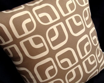"50% OFF - Modern Geometric Pillow Cover - Coffee Latte - Home Decorator Fabric - 17"" x 17"" for an 18"" insert"