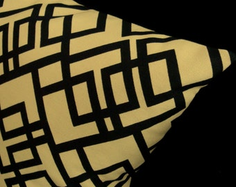"""45% OFF - Modern Throw Pillow Cover - Black and Tan Geometric - Chris Stone Home Dec Fabric - Shown with 18"""" x 18"""" insert"""