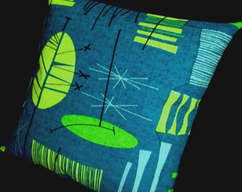 "Tiki Retro Throw Pillow Cover -- Teal and Lime - Premium Reproduction Barkcloth - shown with 18"" x 18"" inch insert - Many Sizes Available"