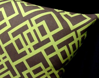 "45% OFF - Modern Pillow Cover -- Lime on Chocolate GRiDLoCK - Chris Stone Home Dec Fabric - Shown with 18"" x 18"" insert"