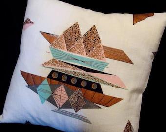 50% OFF - Retro Throw Pillow Cover -- MCM Metallic Copper, Pink, Aqua, VINTAGE Barkcloth for 18 x 18 insert