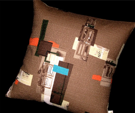 "Modern Barkcloth Pillow Cover - MCM Architectural Elements on Vintage Barkcloth - Shown with 18"" x 18"" insert - Many Sizes Available"