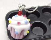 Pink and  White Lampwork Cupcake  Necklace
