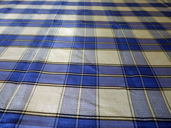 Vintage Blue Plaid Tablecloth