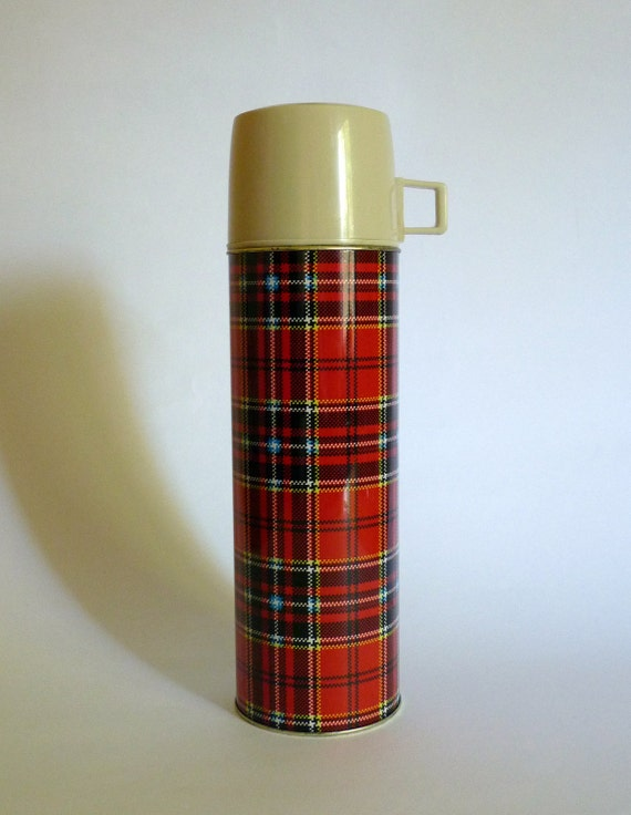 Vintage Tall Red Plaid Tartan Thermos Flask