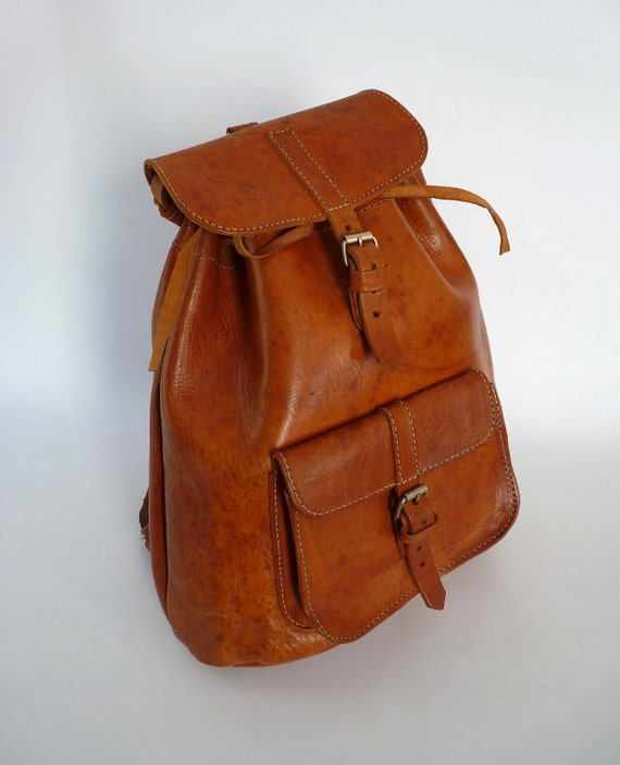 Handmade Leather Backpack Tote Bag