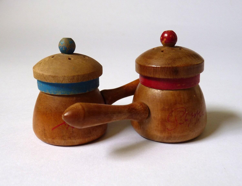 Vintage Wooden Salt And Pepper Pots