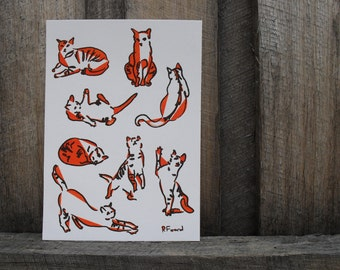 Cat Collective - limited edition Gocco print