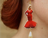 Divine Dollhouse Hanging Earrings with pearl teardrop