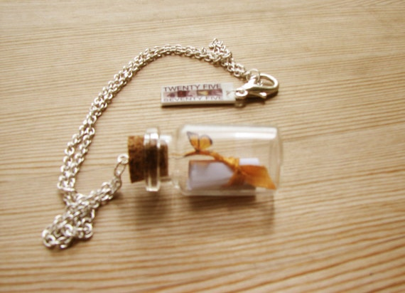 Message in a Bottle with Monarch Butterfly Charm Necklace