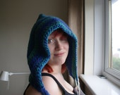 Large Pixie Hood In Blues and Greens