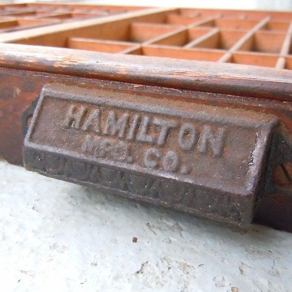 Vintage Wooden Hamilton Letterpress Drawer with Metal Handle