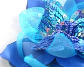 Hair Clip / Brooch Combo -Azure Venus Floret -Handcrafted Satin and Sequence Flower - Artisan Brooch