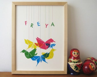 Origami Birds and Butterflies - Personalised Decor Print for Nursery or Play Room