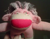 Little Old Gray Haired Lady Punk and Pink Sock Monkey