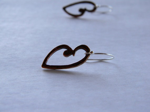 Mixed metal copper sterling silver hammered oxidized Heart shaped earrings made in Maine under 20 Valentaine gift