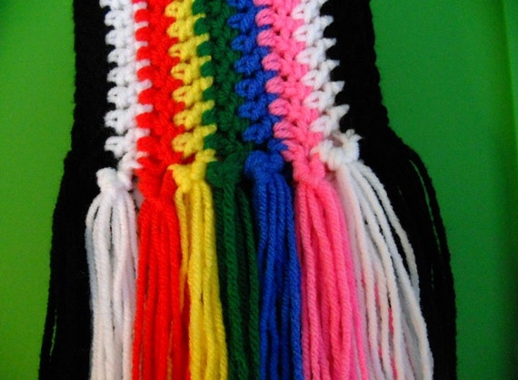 Multicolored Crocheted Scarf with Fringe