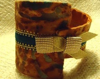 Rust & Teal Batik Cuff Bracelet