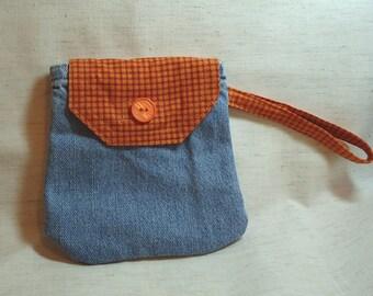Handmade Recycled Denim Wristlet Pocket Purse