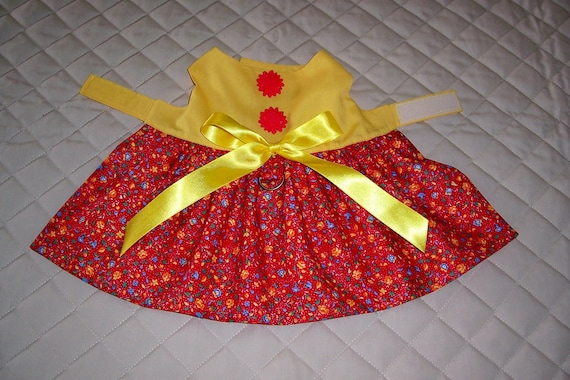 Clearance XS-S Dog Dress Yellow and Red Floral Buttons Bow Pets Apparel Clothing