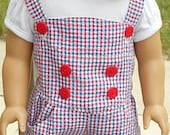 Red, White & Blue Romper Outfit For American Girl Or Similar 18-Inch Dolls