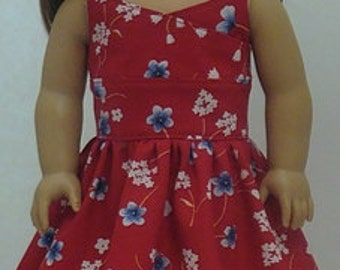 Red Wrap-Top Style Sundress For American Girl Or Similar 18-Inch Dolls