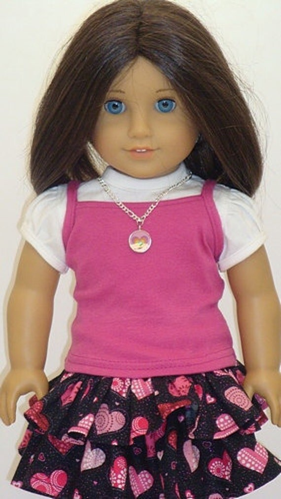 Heart Print Skirt, T-Shirt And Strappy Tank Top For American Girl Or Similar 18-Inch Dolls