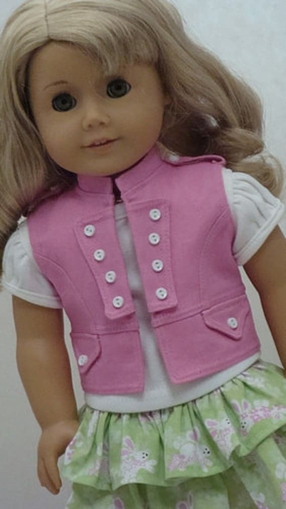 Detailed Pink Vest, Bunny Print Skirt And T-Shirt For American Girl Or Similar 18-inch Dolls