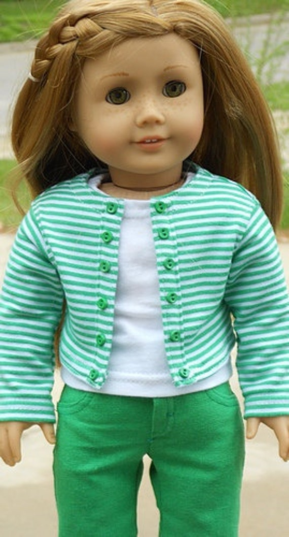 Striped Knit Jacket And Green Capri Outfit For American Girl Or Similar 18-Inch Dolls