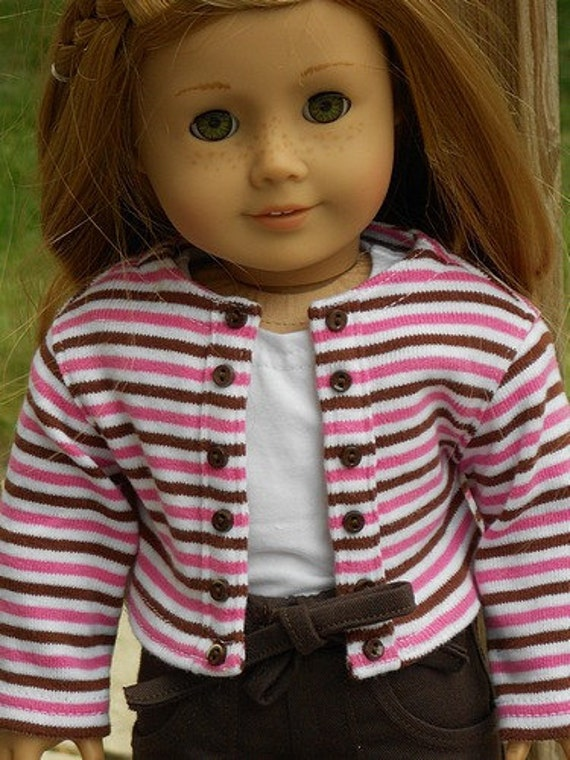 Striped Knit Jacket And Brown Cropped Cargo Pants Outfit For American Girl Or Similar 18-Inch Dolls
