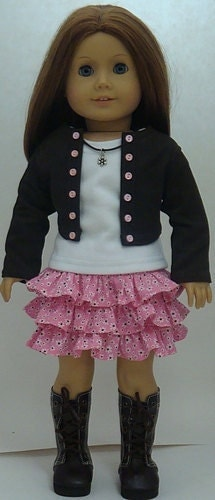 Pink And Brown Skirt Cropped Jacket And T-Shirt For American
