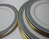 Vintage Queens Guard by Noritake Slate Blue and Gold Rope Salad Plates and Butter Plates Set of Seven