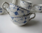 Vintage Franciscan Denmark English Ironstone Blue and White Teacups Set of Seven