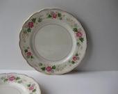 Vintage Grindley Creampetal Swansea Rose Pink and Green Dinner Plate Pair