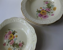 Vintage Pantry Bakin Ware by Crooksville Floral Soup Bowls Set of Four