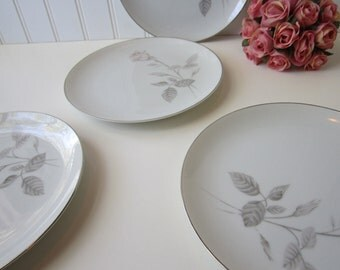 Vintage Fine Imported China French Rose Pink Salad Plates Set of Four