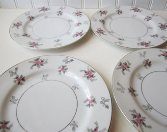 Vintage Rosemere Japan China Pink Green Floral Salad Plates Set of Four