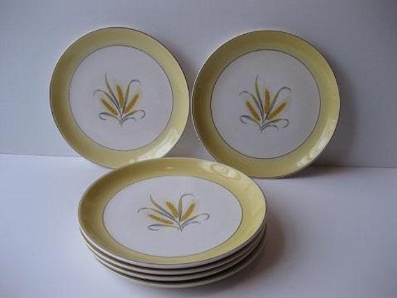 Vintage Alliance China Co Goldcrest Hand Decorated 22 Kt Gold Salad Plates Set of Six