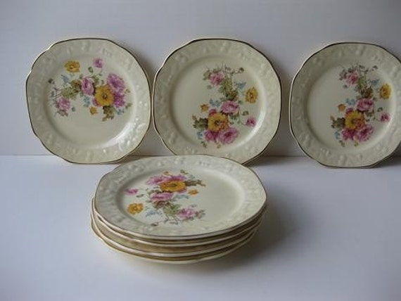 Vintage Pantry Bak-in Ware by Crooksville Floral Bread & Butter Plates Set of Six