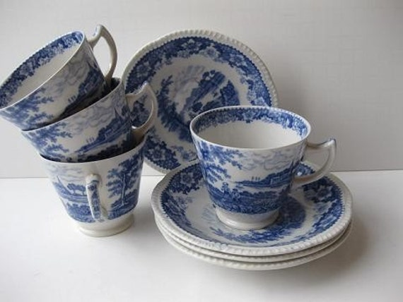 Antique Silverdale by Hanley Classic Blue and White Teacups and Saucers Set of Four