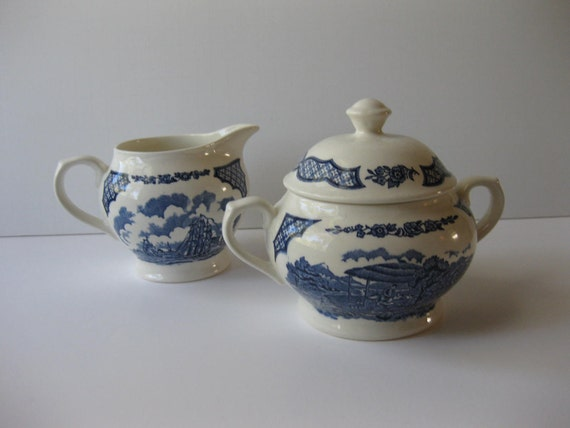 Vintage Alfred Meakin Fair Winds Blue and White Classic Cream and Sugar Set