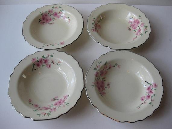 Vintage WS George Pink Green Floral Dessert Bowls Set of Four
