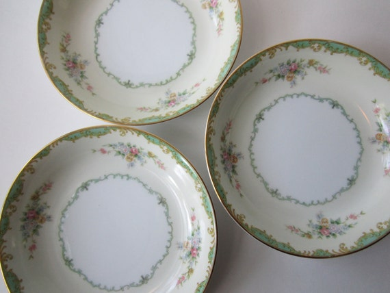 Vintage Noritake Seafoam Green Floral Soup Bowls Set of Three